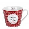 Krasilnikoff Happy Cup Super Oma Kaffee Becher Porzellan Tasse 300 ml im Blossom Design in rot weiß Model HC486
