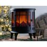 LED Kamin Finn schwarz mit Timer für Beleuchtung 35 cm groß Deko Laterne mit Licht machte gemütliche Stimmung im Winter