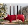 Maileg Holzschwein Rot groß Kerzenschwein Kerzenhalter für vier Kerzen 11 cm Adventsschwein Adventskranz Dekoidee