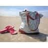 Pad Handtasche Feather aqua türkis Strandtasche bedruckt mit Federn mit braunen Henkeln