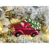 Tannenbaum Hänger Pick Up Matt mit Baum auf Dach Rot Auto 11 cm Glas Vintage Design Weihnachten Adventsdekoration Baumschmuck