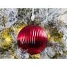 Tannenbaumkugel XL Rot mit Streifen Struktur Kugel Hänger 15 cm groß Baumschmuck Weihnachtsdeko