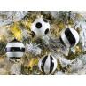 Weihnachtskugeln Greta Schwarz weiß 8 cm 4er Set Tannenbaumkugel aus Glas Baumschmuck Adventsdekoration Weihnachtsbaum