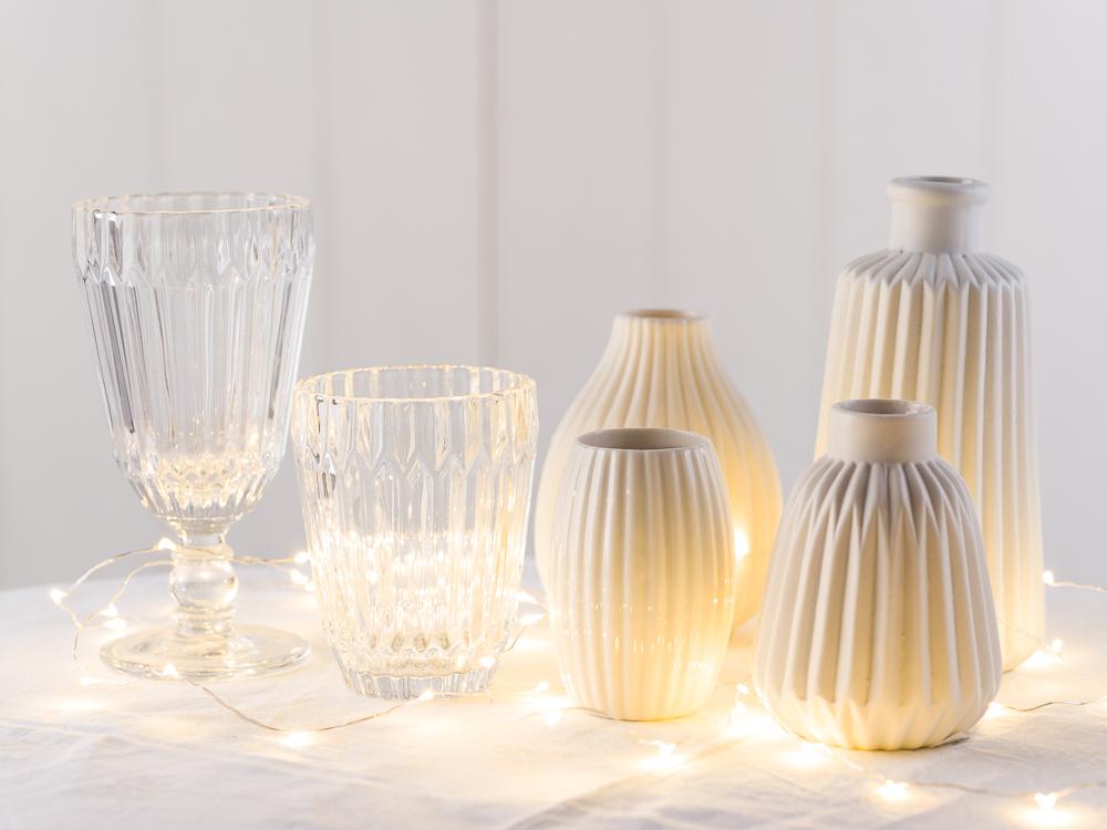 Hochzeitsdekoration kaufen und individualisieren Ideen und Inspirationen Gläser Kelche Vasen Tischdekoration