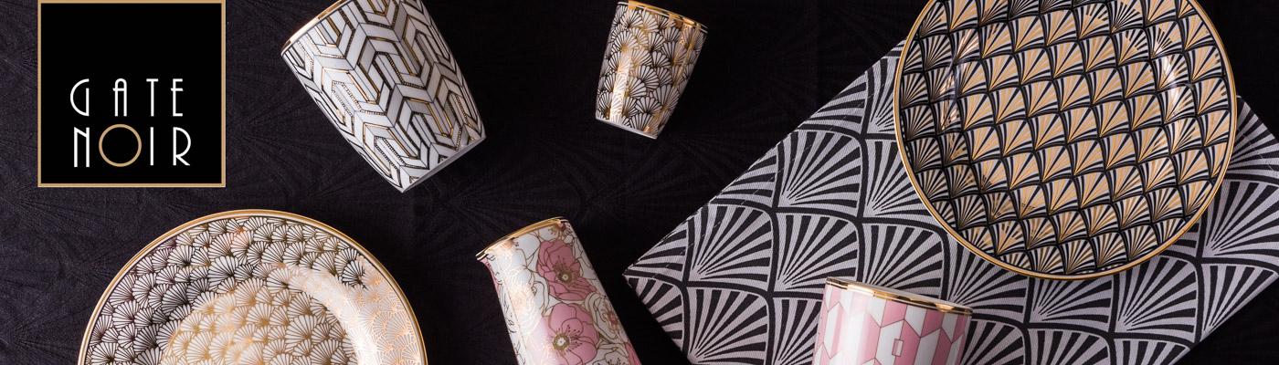 Gate Noir - Art Deco - Greengate Becher Teller Krug Tischdecken Geschirr mit Gold