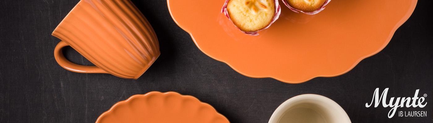 IB Laursen Mynte Shop - Geschirr Orange Pumkin Spice Teller Tortenplatte Becher - hier bestellen