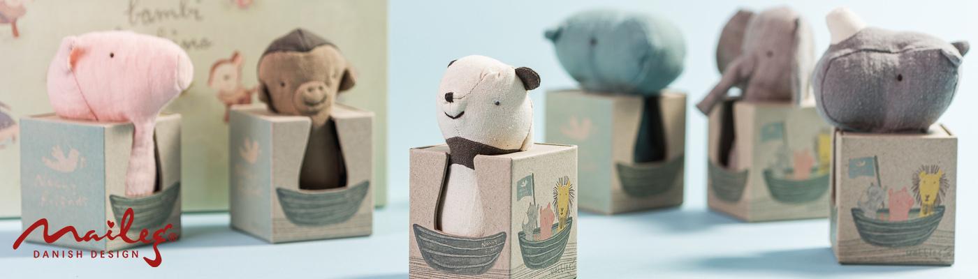 Maileg Shop - Noahs Friends Baby Rasseln aus Leinen Schwein Affen Panda Hippe Elefant Rhino - hier bestellen