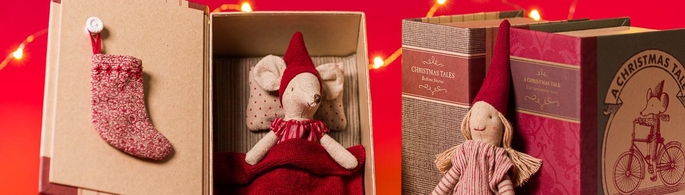 Maileg Shop - Weihnachtsmaus Big Sister im Buch mit Bett und Wichtel Nisse - verspielte Weihnachtsdeko für Jung und Alt